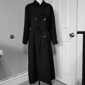 Talbots Black Classic Long Trench Coat